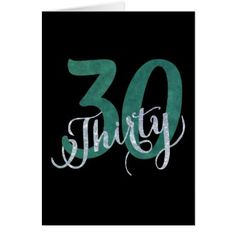 30th Party | Green Black Glitter Script Birthday Card - glitter glamour brilliance sparkle design idea diy elegant