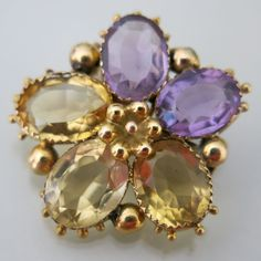 An Antique Georgian 18k Gold Amethyst & Citrine Pansy Brooch.
