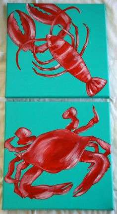 This listing is for two 12x12inch canvas (3/4 inch thick) with a crab & lobster painted in a dry brush technique. The paint is not perfectly