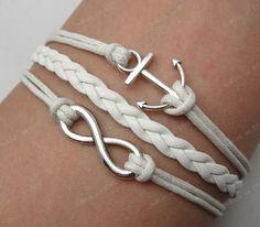 infinity & anchor bracelet--antique silver  bracelet--wax cords bracelet--friendship gift--F008. $5.99, via Etsy.