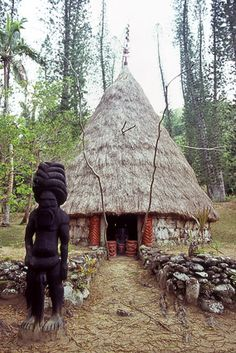 Case du chef kanak Bergé Kawa, tribu de Petit Couli, Sarraméa, de Nouméa à Canala par La Foa, Grande Terre