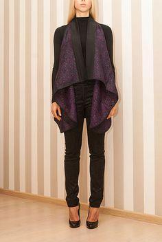 Mantella con Taschino in Lana e Lurex Viola Taglia Unica Maison 39 MS013
