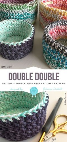 Great Crochet Baskets Free Patterns 2019 Double Double Free Crochet Pattern The post Great Crochet Baskets Free Patterns 2019 appeared first on Yarn ideas. Crochet Simple, Crochet Diy, Crochet Motifs, Crochet Home, Learn To Crochet, Crochet Crafts, Yarn Crafts, Crochet Stitches, Crochet Bags