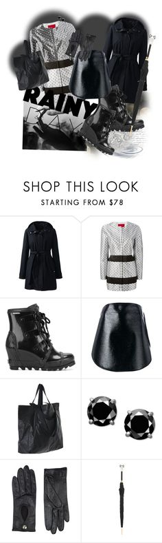 """""""Rainy Day High Fashion!"""" by flippintickledinc ❤ liked on Polyvore featuring Lands' End, Moncler Gamme Rouge, SOREL, Courrèges, Harrods, Pasotti Ombrelli and rainyday"""