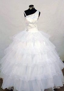 Impressive Princess Asymmetrical Beaded White Pageant Dresses with Ruffles