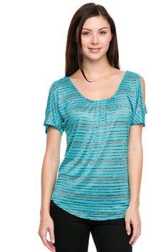 Striped Cutout Shoulder Knit Top