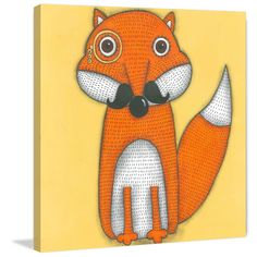 Marmont Hill - 'A Fox with mustache' by Tatijana Lawrence Painting Print on Wrapped Canvas