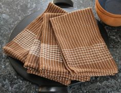 """Yarnworker--Liz Gipson--Kitchen Kitsch kitchen towel pattern, 15""""RH, 10 dent, 3 shuttles, either 8/2 unmerc. cotton in Jade  and Light Turk or 8/2 Venne Org. Cotton by Louet in Fawn and Cream (Pictured)"""