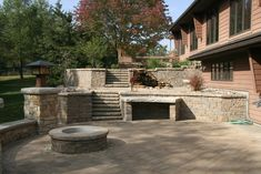 Awesome Unilock Pavers For Your Outdoor Patio Ideas: Awesome Unilock Pavers Design With Outdoor Fireplace For Your Contemporary Outdoor Backyard Ideas
