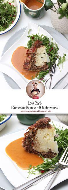Diese Lowcarb Blumenkohlbombe ist super einfach und leicht  zubereitet. Damit es nicht allzu trocken ist, habe ich noch eine kräftige Rahmsauce gemacht und einen Ruculasalat mit einem Granatapfeldresssing dazu gemacht. #lowcarb #abnehmen #diät #blumenkohlbombe #blumenkohl #einfach #sonntagsistkaffeezeit Low Carb, Eggs, Breakfast, Food, Eat Lunch, Food Dinners, Super Simple, Souffle Dish, Egg