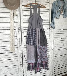 """This piece is part of my """"Prairie Chic"""" Collection: Western Inspired Clothing in """"Frontier Days meet Hippie Style""""… Most garments are antiqued, hand dyed and tattered for that time-worn look… A long Boho Patchwork Dress with a Tank-Top bodice. Very sheer fabrics, suitable for Summer"""