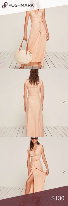 Reformation Parisa dress peach This is a midi length, wrap dress with a cap sleeve, v neckline and side slit. - Asymmetrical hem -Attached belt-  -Cap sleeve - Fitted bodice - High slit - Midi length - True to size - V neck - Wrap dress Reformation Dresses Midi