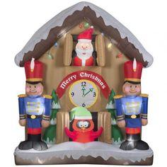 Inflatable Santa Nutcracker Scene Animated Toy Christmas Outdoor Yard Decor New