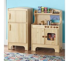 """Play kitchen LOVE this one but I really need to scale down size and I think a countertop space would be better used than such a large fridge? Provide a skinnier fridge and stove to allow for counter space where all the """"making"""" goes on :) Kids Wooden Kitchen, Diy Play Kitchen, Kitchen Sets, Mini Kitchen, Play Kitchens, Kitchen Stuff, Doll Furniture, Kids Furniture, Furniture Decor"""