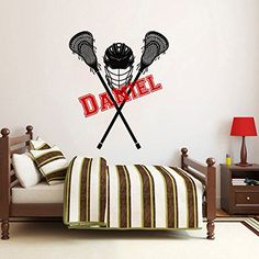 Wall Decals Custom Boys Name Personalized Girls Name Lacrosse Player Sports Nursery Kids Gift Wall Vinyl Decal Stickers Bedroom Murals *** Read more at the image link.