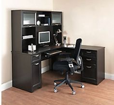 L-shaped Office Desk With Hutch, Corner Desk, Office Furniture, Computer Table