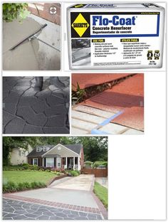 Make Old Concrete Surfaces Look New Again . Sakrete Flo-Coat is a highly flowable material for resurfacing concrete & a great alternative to expensive concrete replacement . Concrete Driveways, Concrete Patio, Concrete Resurfacing, Sidewalks, Outdoor Living, Outdoor Decor, Walkway, Decor Crafts, Curb Appeal