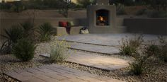 Interesting way to pave by integrating stone and gravel - Belgard Dublin Cobble