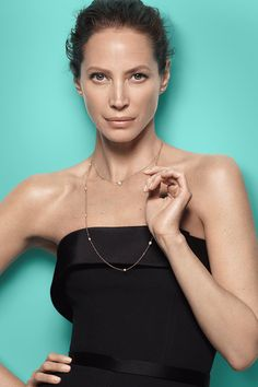 Women of style and substance always wear iconic Tiffany designs, like Christy Turlington Burns in Elsa Peretti® Diamonds by the Yard®.