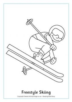Freestyle Skiing Colouring Page: Winter Olympics Crafts for Kids . Olympic Idea, Olympic Sports, Olympic Games, Sports Coloring Pages, Colouring Pages, Winter Games, Winter Activities, Theme Sport, Olympic Crafts