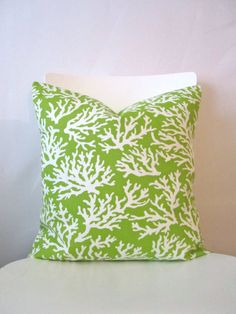 18 inch throw pillow cover Coral lime green and by CushionCutDecor, $15.95