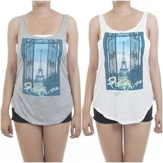 ebclo - Eiffel Tower Paris Graphic Twisted Open-Back Muscle Tee Tank Top NEW #ebclo #GraphicTee $14.00 Free Domestic Shipping