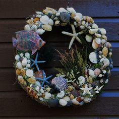 Sea shell beach wreath with blue tropical fish