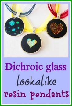 Resin pendant tutorial. Create a dichroic glass lookalike pendant.