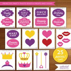 25 piece Princess Party Photo Booth Props and Signs - Printable Instant Download