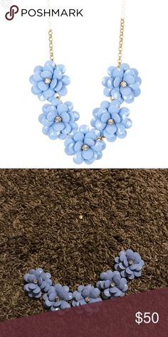 J.  Crew flower necklace NWT. Super cute statement necklace in the prettiest light blue/purple color. I'm always open to reasonable offers! J. Crew Jewelry Necklaces