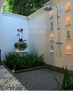 Outdoor bathroom ideas from D.J. Chan's IG the_happy_dweller. Inspires me to include these tiles in my garden.