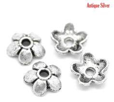 15mm 10 Metal Antique Silver Tone  Bead Caps