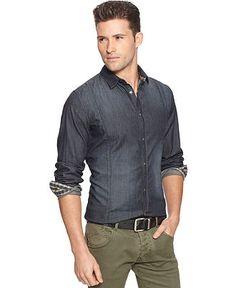 Men's Fashion: Dark Denim Shirt & Khaki Chinos.