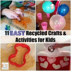 11 easy crafts and activities for kids using recycled materials, plus the 60 day junk play challenge blog hop!