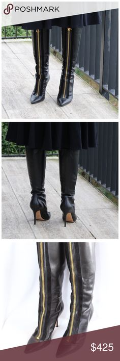 7e4de229e0c Jimmy Choo Black Leather Zipper High Boots 38 ‼ PRICE FIRM ‼ 10%
