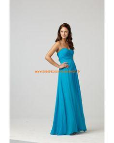 Belle robe de cocktail 2013 bustier simple bleue décorée de plis mousseline