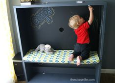 IKEA Hackers: BESTÅ TV Stand Turned Kids Corner - add a rod hooks and mirror on side for a dressup closet