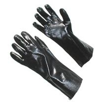 """PVC Coated Gloves Gauntlet Cuff.  PVC coating is a synthetic thermoplastic polymer that provides excellent abrasion resistance and effective protection against caustics, oils, greases, chemicals and solvents. These gloves provide great flexibility and fit. Choose between our 10"""" 12"""" 14"""" & 18"""" smooth gauntlet cuff or our 14"""" Double Dipped rough coat for improved grip. Mens Large."""