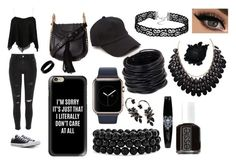 """Black Theme"" by kooldesigner on Polyvore featuring River Island, Converse, Chloé, Casetify, rag & bone, Bling Jewelry, Saachi, West Coast Jewelry, Roberto Cavalli and Essie"