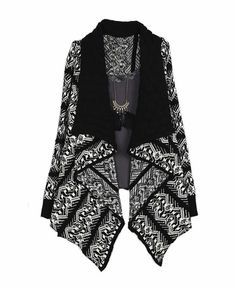 Ethnic Pattern Irregular Edge Big Lapel Cardigan Knit Fashion, Ethnic Fashion, Women's Fashion, Waterfall Cardigan, Cotton Jumper, Ethnic Patterns, Cardigan Outfits, Warm Sweaters, Sweater Weather