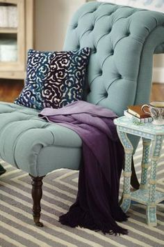 Sitting pretty at a perfect price is #HomeGoodsHappy! Any corner of your home can turn into your favorite nook with a pretty tufted chair, detailed pillow and ombre throw. Find more design inspiration on our blog! by DenyMacMart