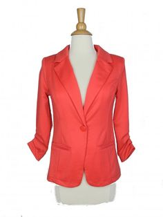 Coral 3/4 Sleeve Blazer with Pockets - $38.00 : FashionCupcake, Designer Clothing, Accessories, and Gifts