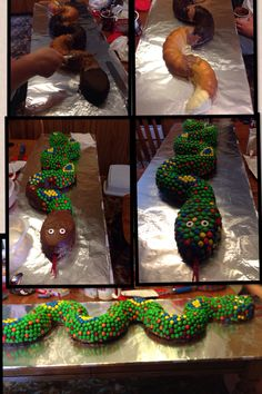 Snake cake my son made for all-male cake bake at Cub Scouts. He baked bundt cakes, cut them in half and stuck them together with icing. He used a round cake for the head (cut to shape). He iced it and covered it with M&M's to make the scales. It was a big hit with the scouts!