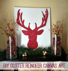 DIY Glitter Reindeer Canvas Art by Inspiration for Moms #reindeer #glitter #christmas #art