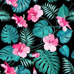patron floral: Flores y palmeras de la selva tropical. Vectores