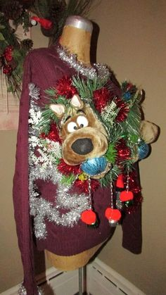 "UGLY CHRISTMAS Sweater Double SCOOBY-Doo  XL 52"" chest winner LED lights Ho-Ho #UglyChristmas #Crewneck"