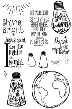 9x12 Salt of the Earth, Light of the World, Quote Drawing