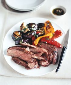 Grilled Flank Steak and Balsamic Vegetables from realsimple.com #myplate #protein #vegetables