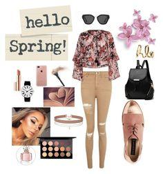 """spring in pastel jeans"" by jessica-779 ❤ liked on Polyvore featuring Topshop, River Island, Belkin, Prada, Estée Lauder, MAC Cosmetics, Miss Selfridge, Rosendahl, Chloé and Guerlain"