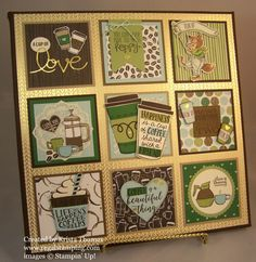 Coffee Theme Framed Art by RegalStamping on Etsy Collage Frames, Box Frames, Box Frame Art, Collage Ideas, Frame Crafts, Diy Frame, Flame Art, Coffee Theme, Coffee Cards